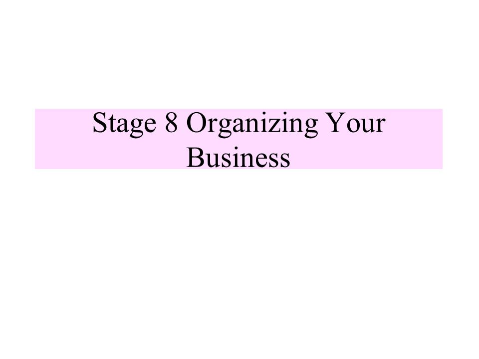 Stage 8 Organizing Your Business