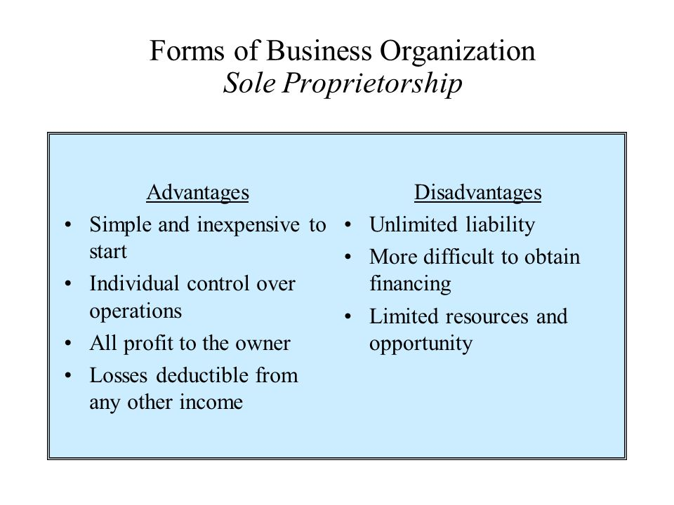 Forms of Business Organization Sole Proprietorship