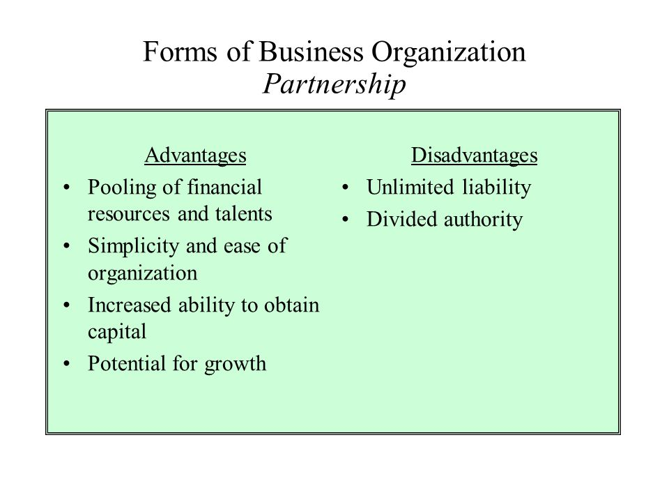 Forms of Business Organization Partnership