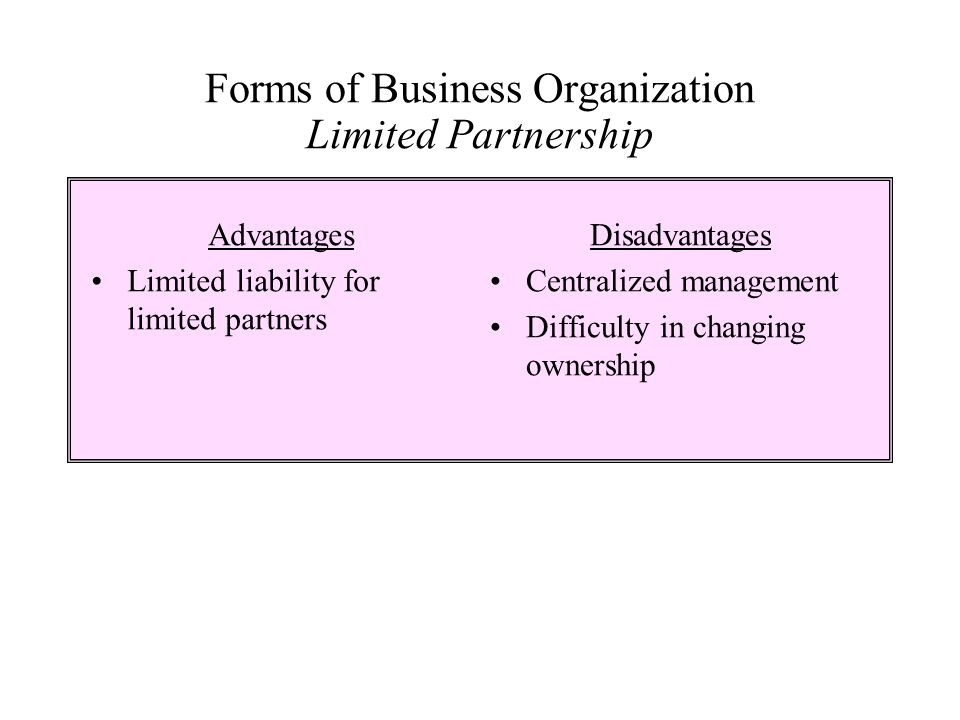 Forms of Business Organization Limited Partnership