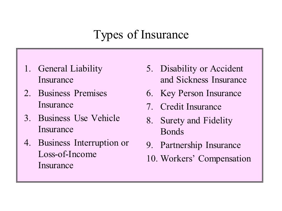Types of Insurance 1. General Liability Insurance