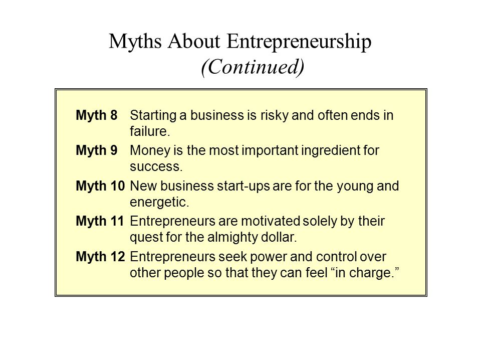 Myths About Entrepreneurship