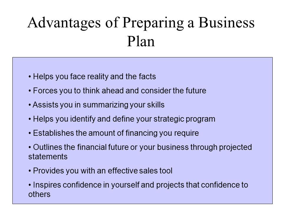 Advantages of Preparing a Business Plan