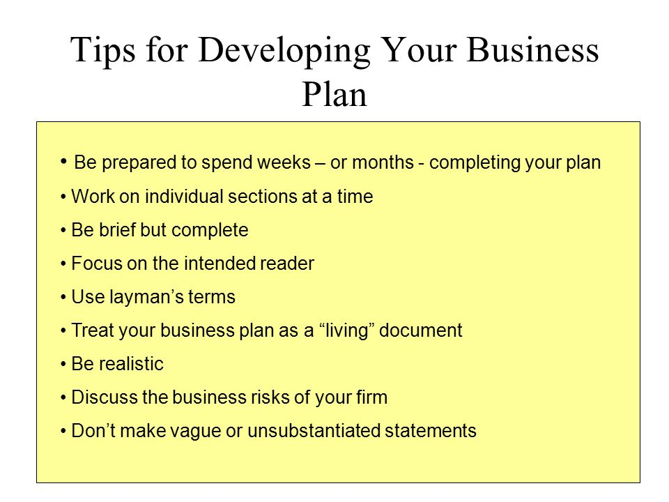Tips for Developing Your Business Plan