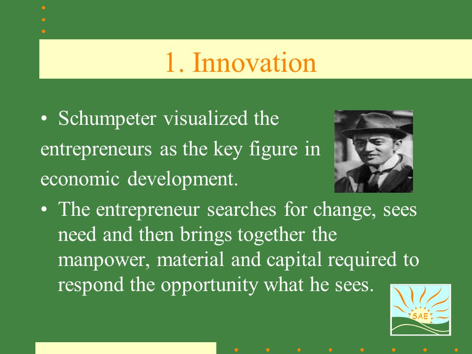 1. Innovation Schumpeter visualized the