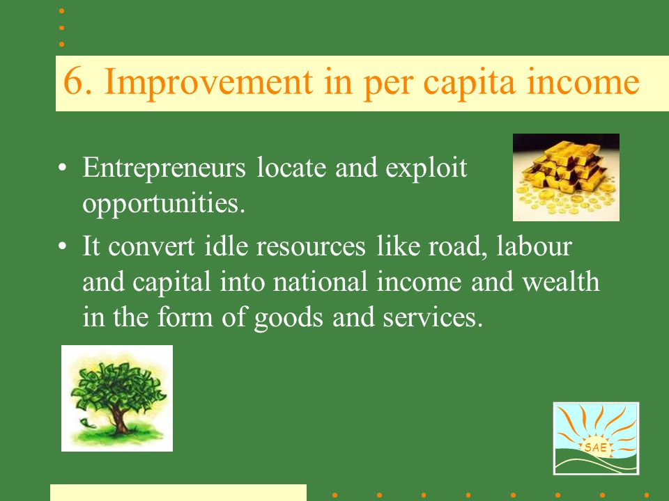 6. Improvement in per capita income