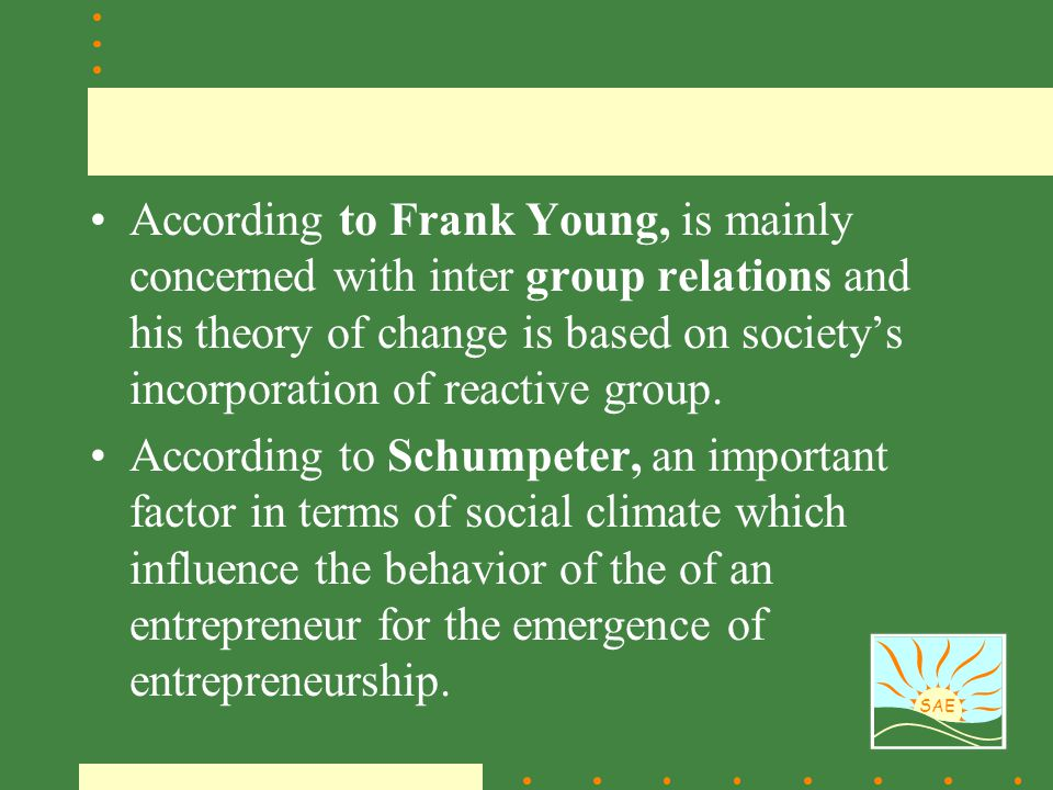 According to Frank Young, is mainly concerned with inter group relations and his theory of change is based on society's incorporation of reactive group.