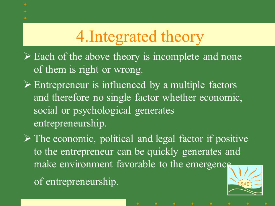 4.Integrated theory Each of the above theory is incomplete and none of them is right or wrong.