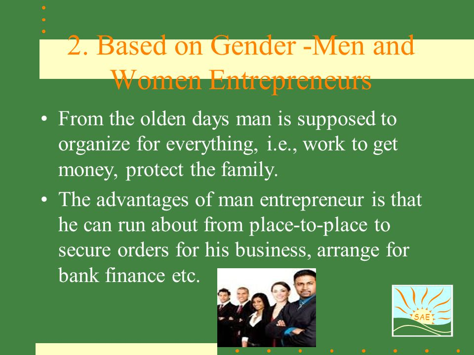 2. Based on Gender -Men and Women Entrepreneurs