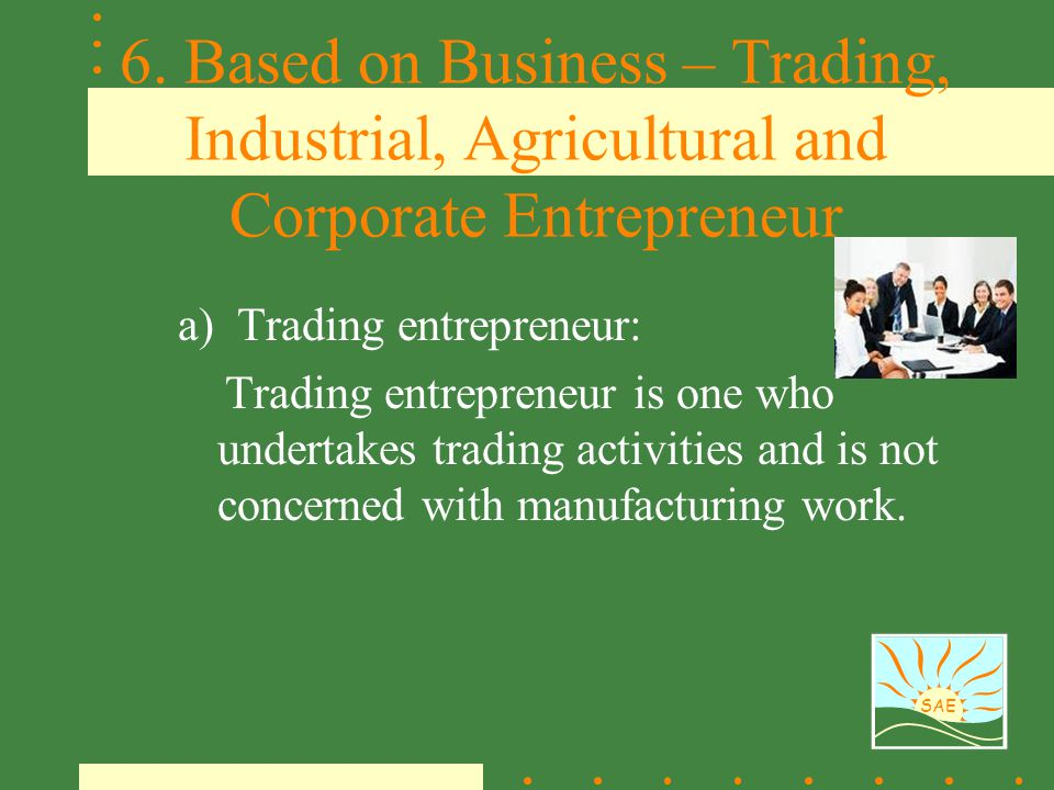 6. Based on Business – Trading, Industrial, Agricultural and Corporate Entrepreneur