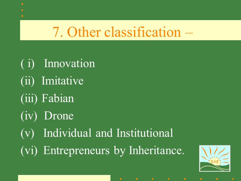 7. Other classification –