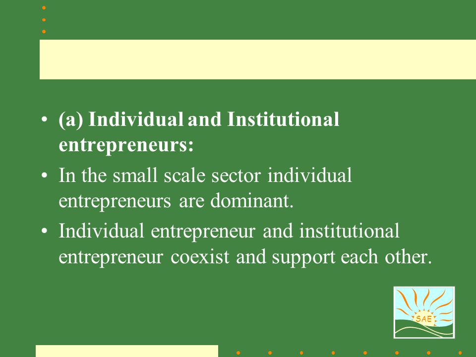 (a) Individual and Institutional entrepreneurs: