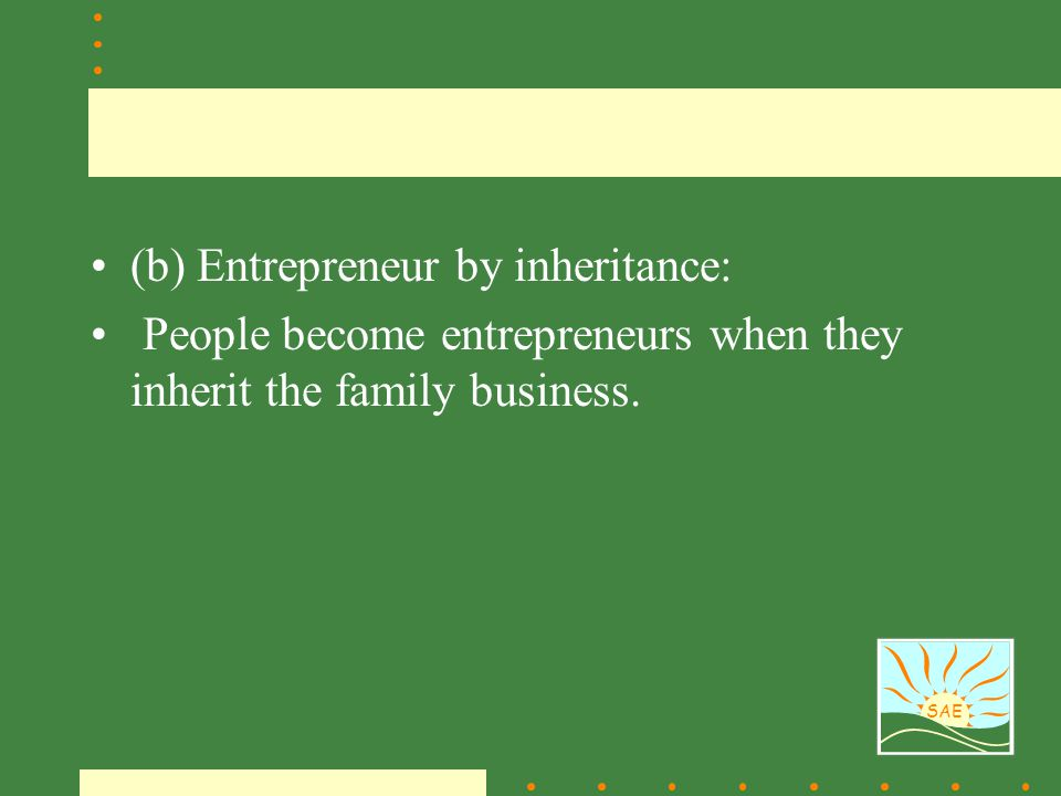 (b) Entrepreneur by inheritance: