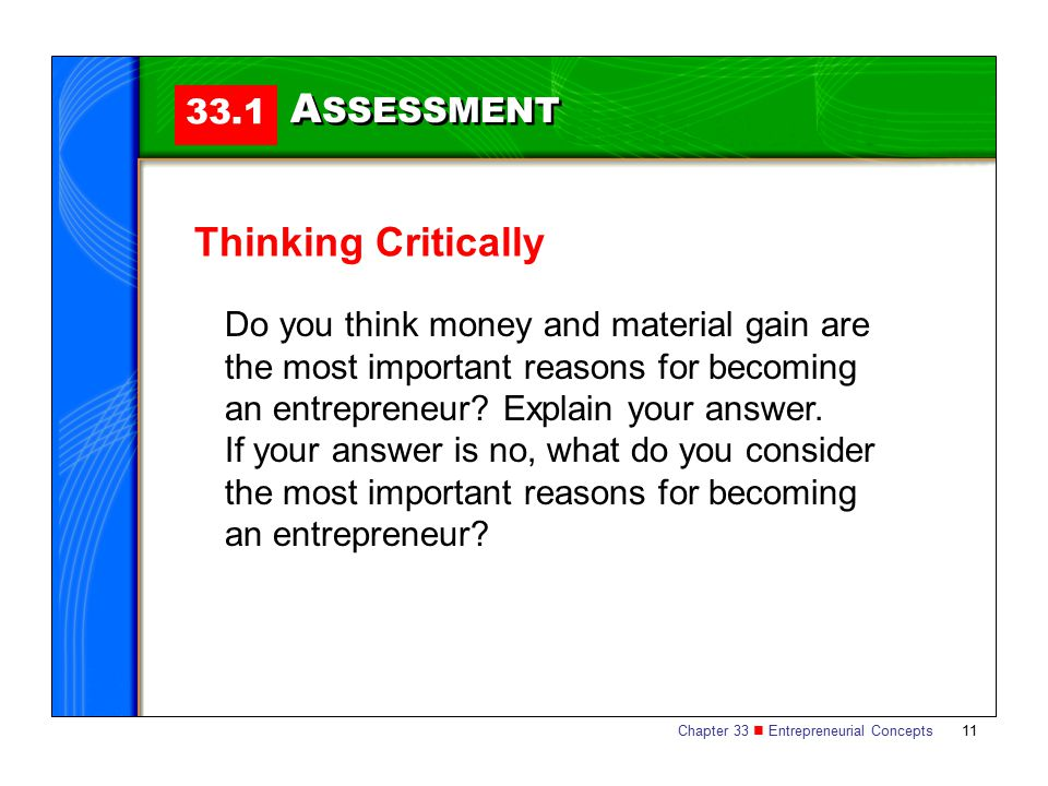 ASSESSMENT Thinking Critically 33.1