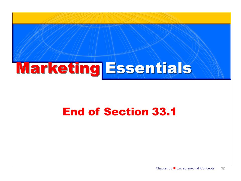 Marketing Essentials End of Section 33.1