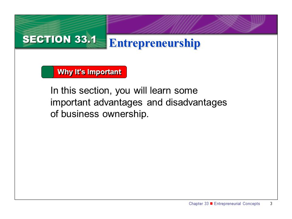 Entrepreneurship SECTION 33.1