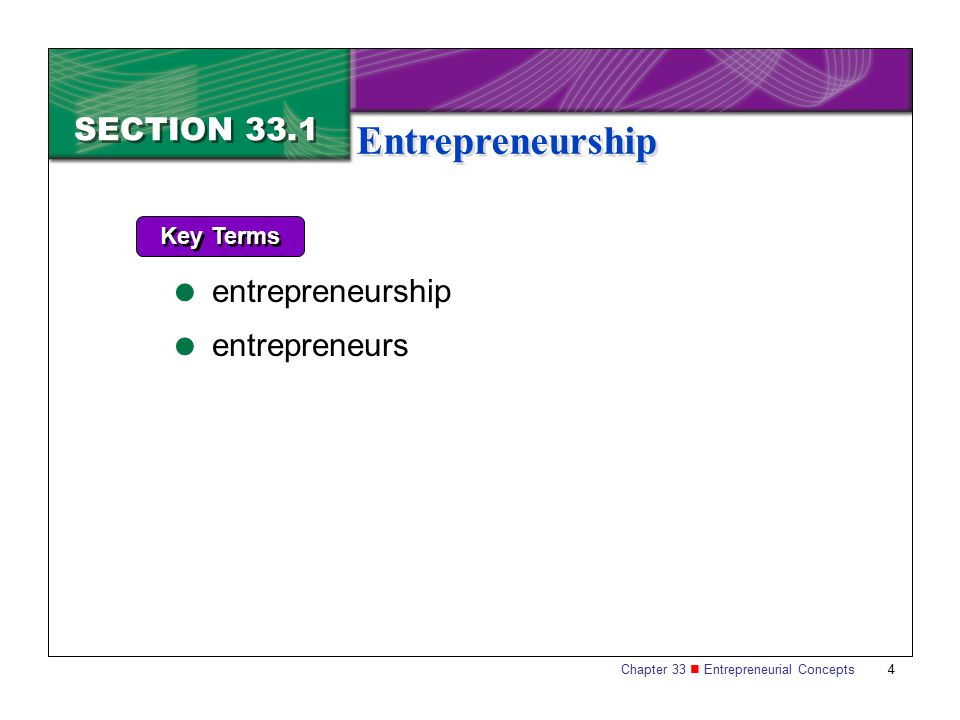 SECTION 33.1 Entrepreneurship Key Terms entrepreneurship entrepreneurs