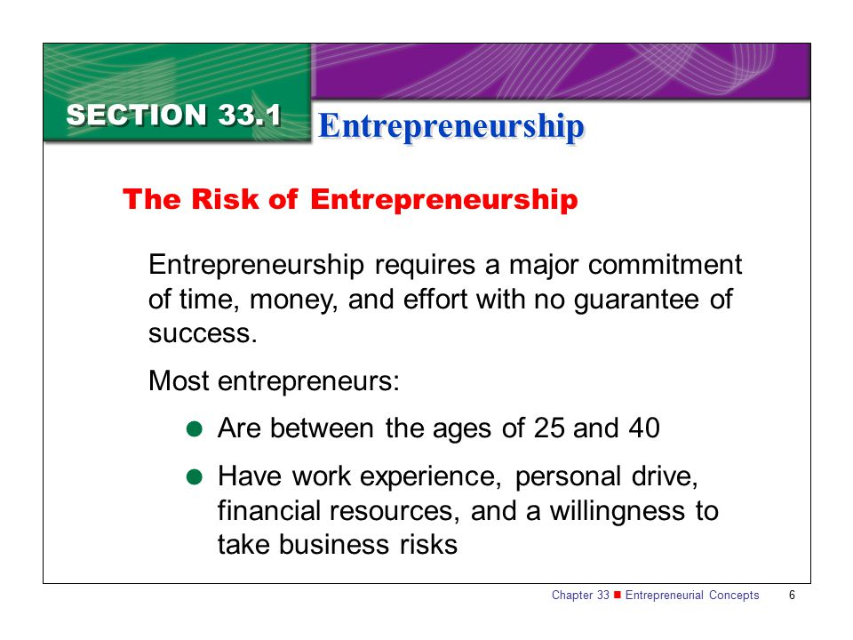 Entrepreneurship SECTION 33.1 The Risk of Entrepreneurship