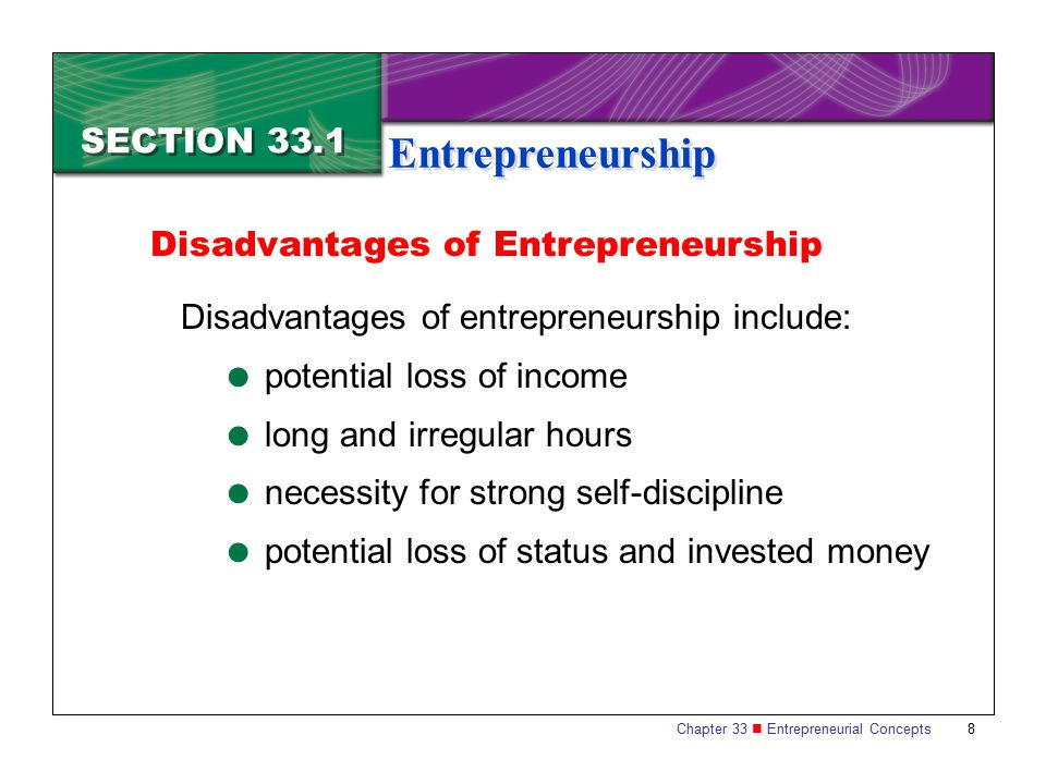 Entrepreneurship SECTION 33.1 Disadvantages of Entrepreneurship