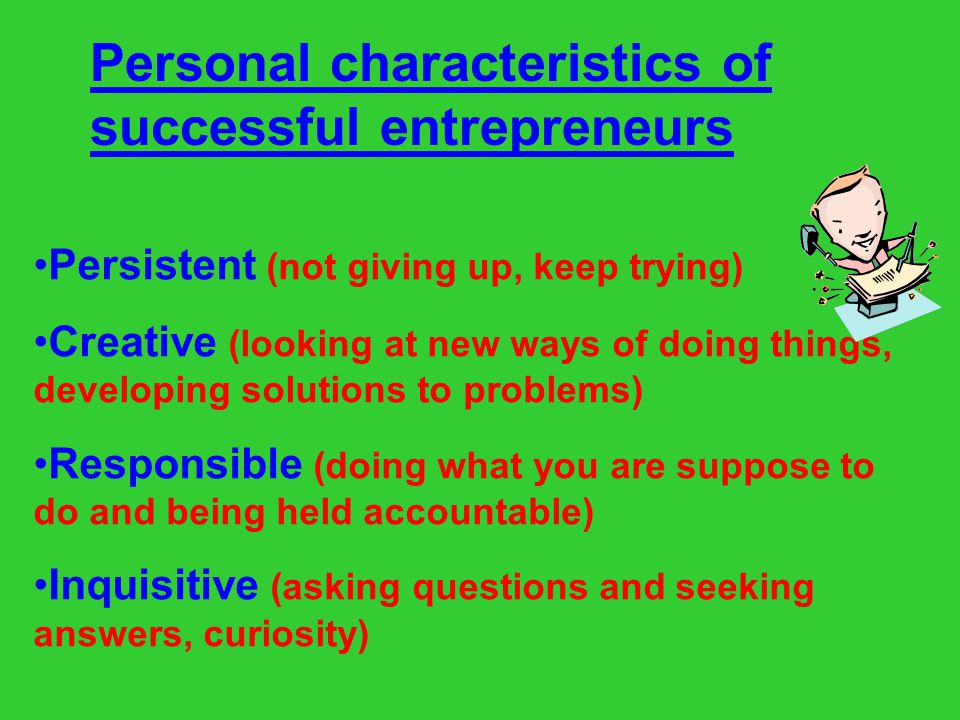 Personal characteristics of successful entrepreneurs