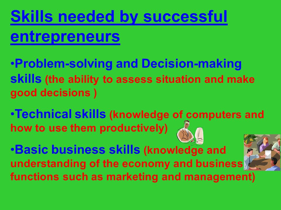 Skills needed by successful entrepreneurs
