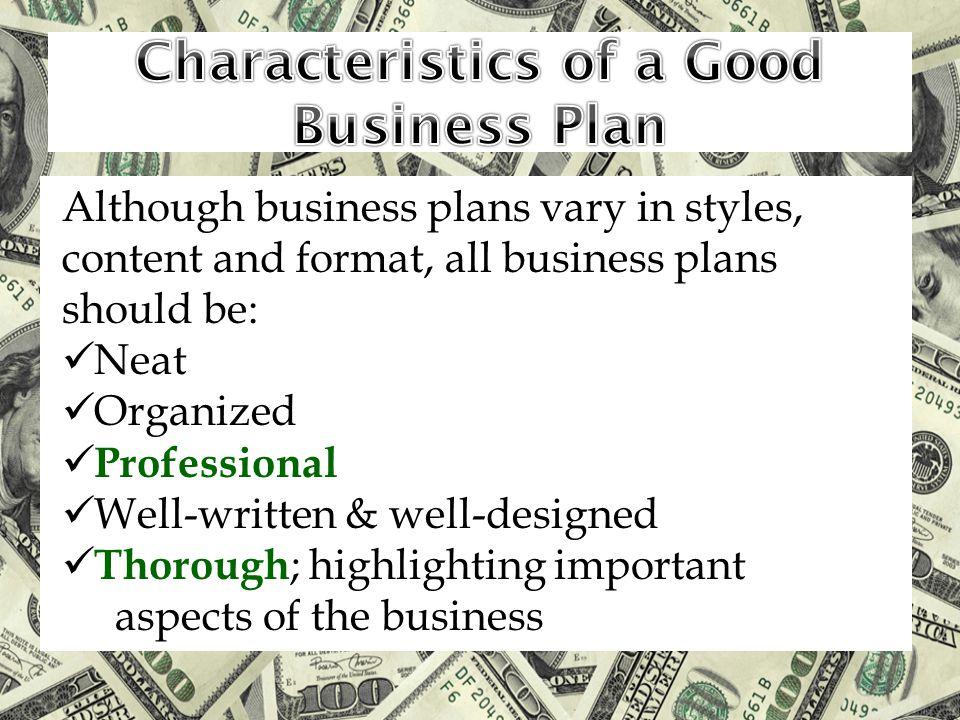 Characteristics of a Good Business Plan