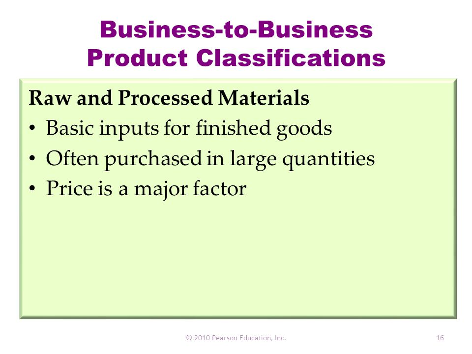 Business-to-Business Product Classifications