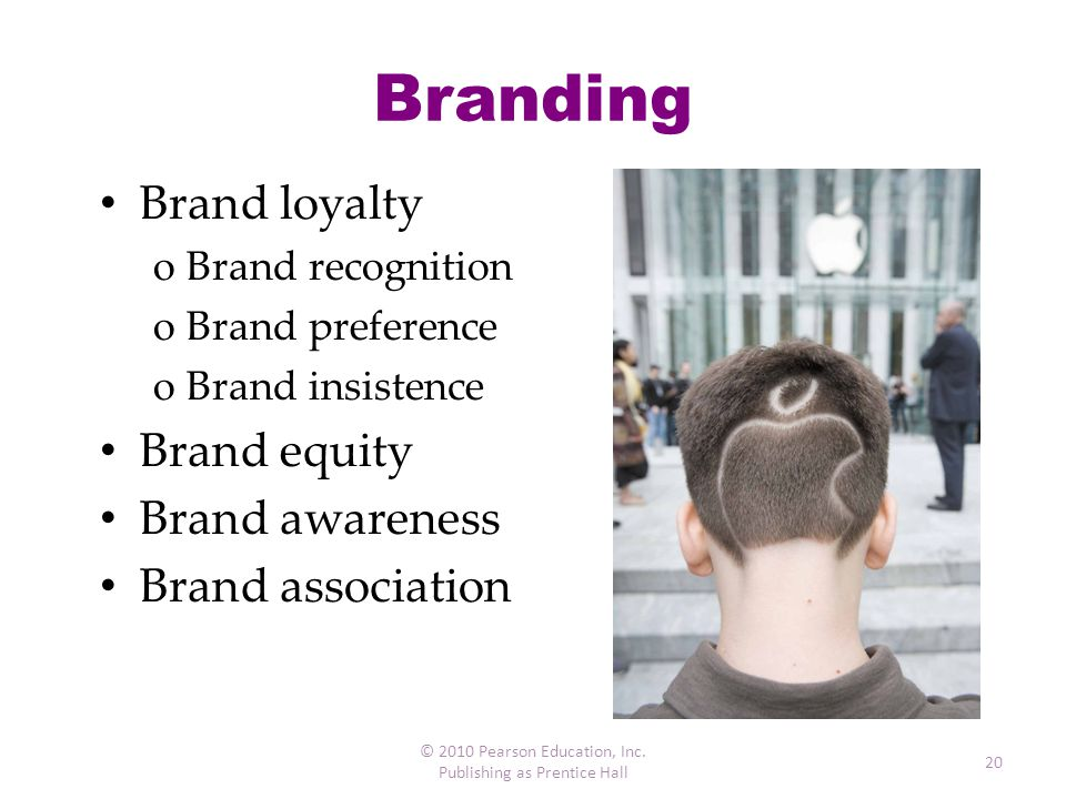 Branding Brand loyalty Brand equity Brand awareness Brand association