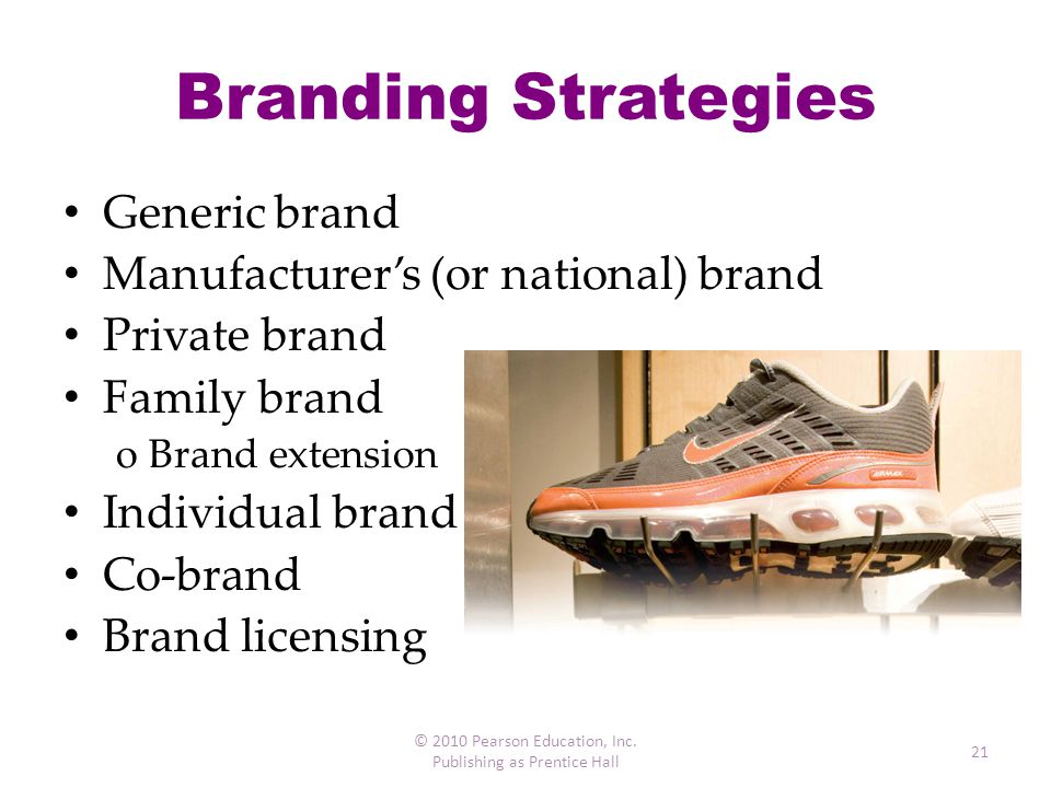 Branding Strategies Generic brand Manufacturer's (or national) brand