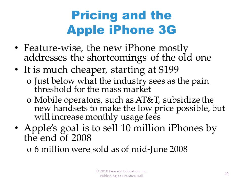 Pricing and the Apple iPhone 3G