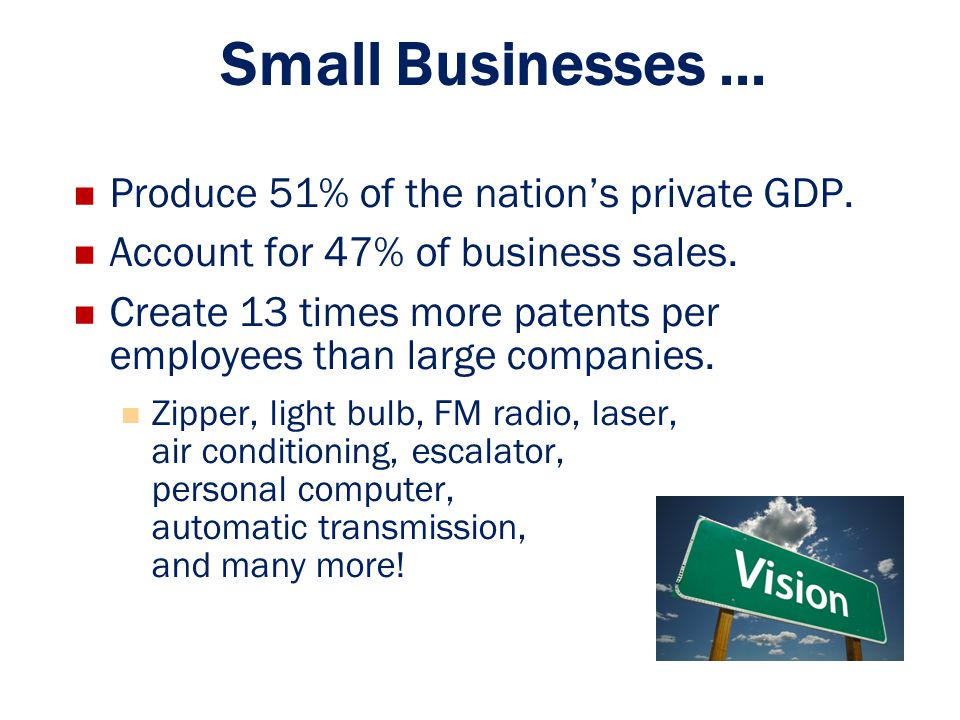 Small Businesses ... Produce 51% of the nation's private GDP.