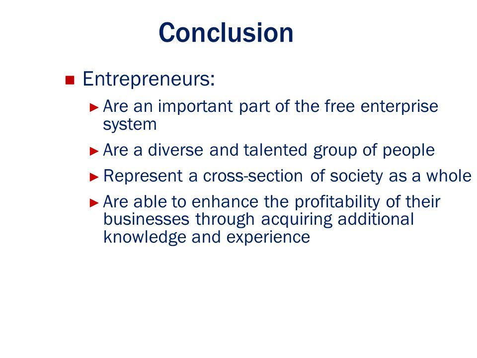 Conclusion Entrepreneurs: