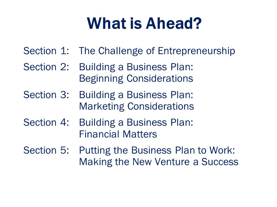 What is Ahead Section 1: The Challenge of Entrepreneurship