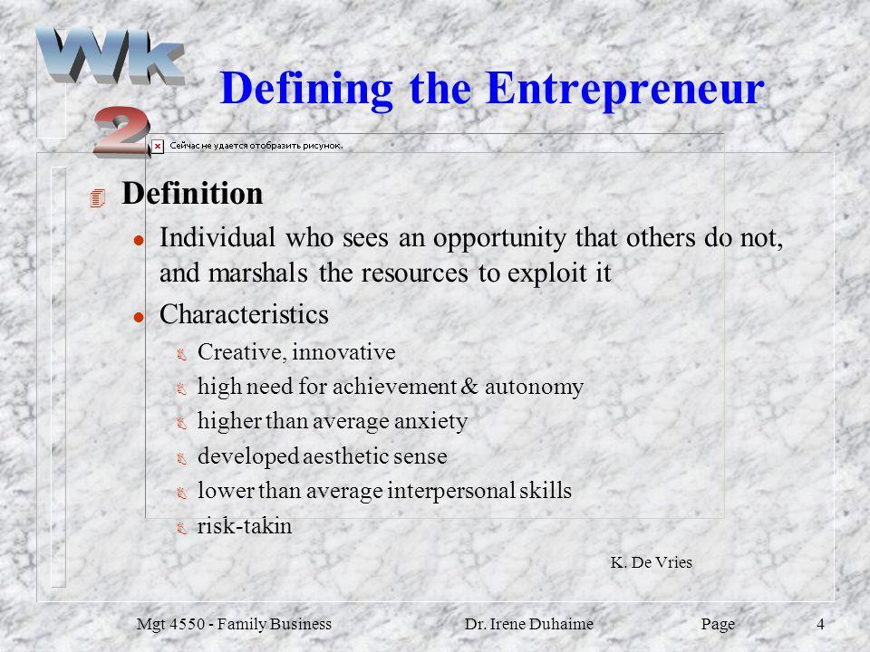 Defining the Entrepreneur