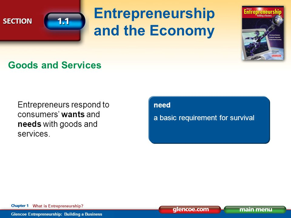 Goods and Services Entrepreneurs respond to consumers' wants and needs with goods and services. want.
