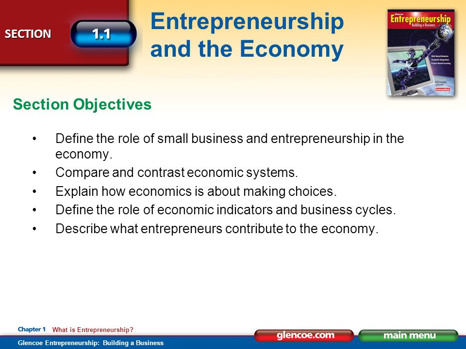 Section Objectives Define the role of small business and entrepreneurship in the economy. Compare and contrast economic systems.