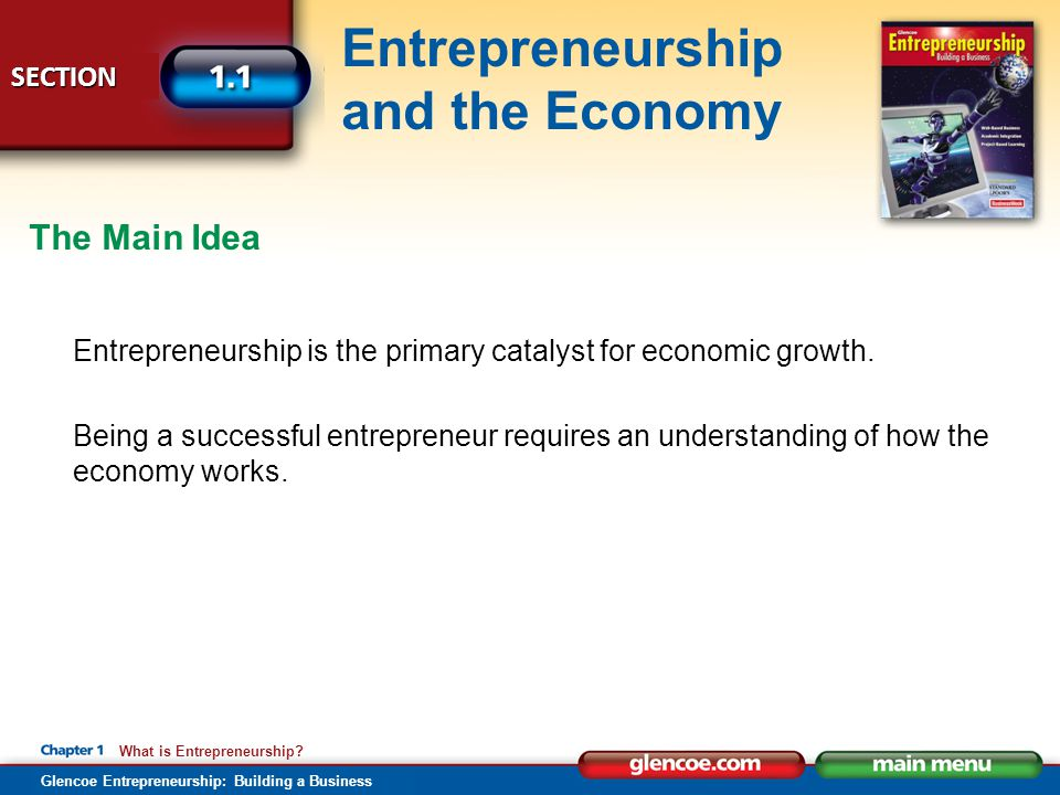 The Main Idea Entrepreneurship is the primary catalyst for economic growth.