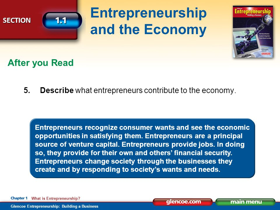 After you Read Describe what entrepreneurs contribute to the economy.