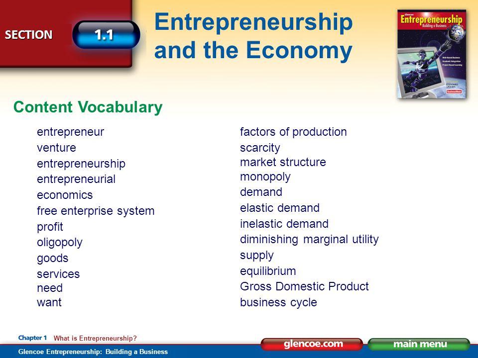 Content Vocabulary entrepreneur venture entrepreneurship