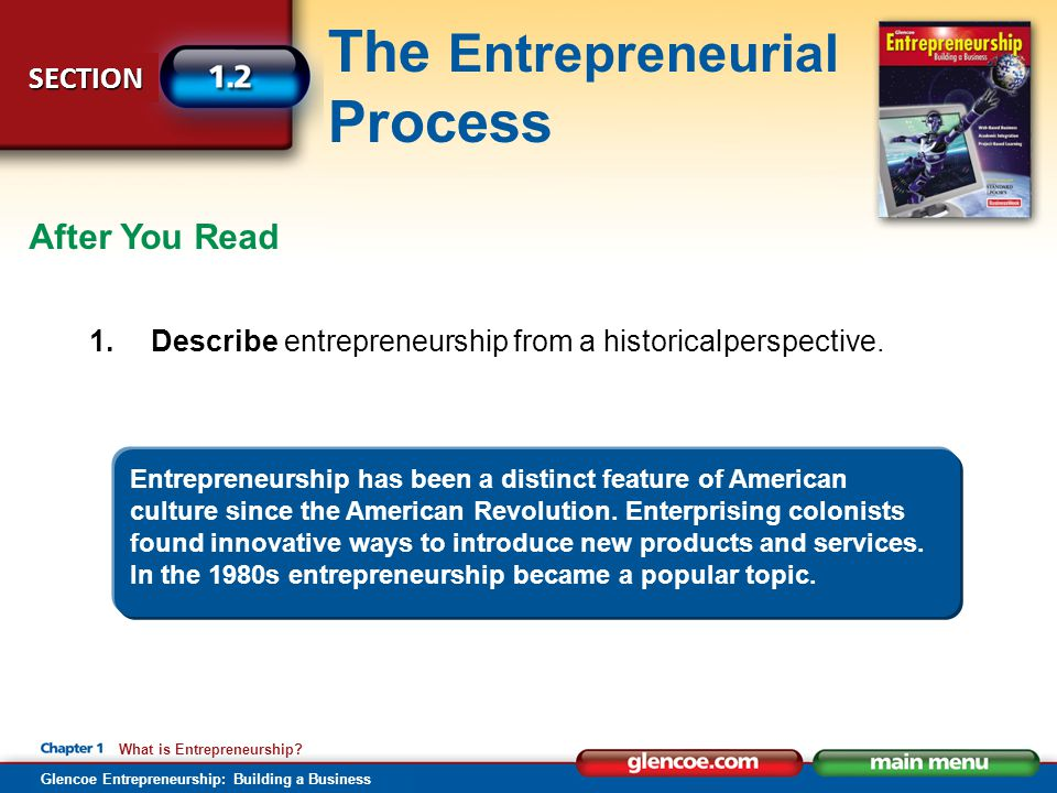 After You Read 1. Describe entrepreneurship from a historical perspective.