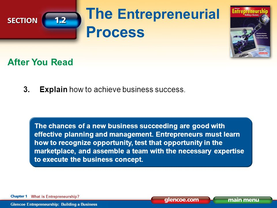 After You Read 3. Explain how to achieve business success.