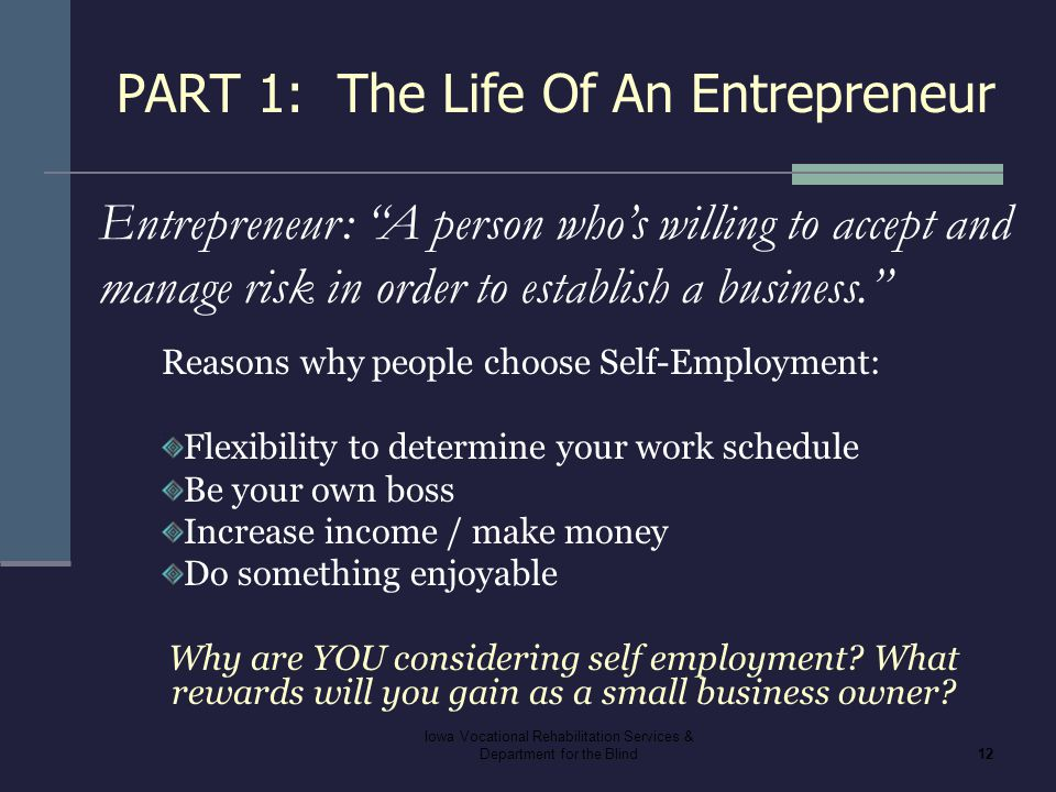 PART 1: The Life Of An Entrepreneur