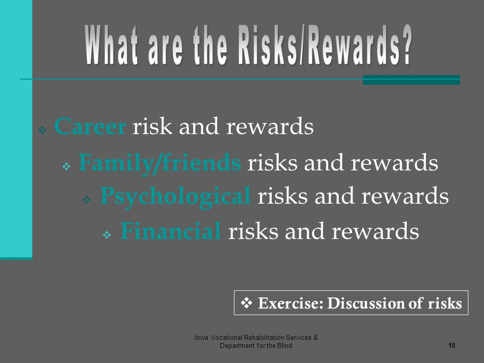 What are the Risks/Rewards Exercise: Discussion of risks