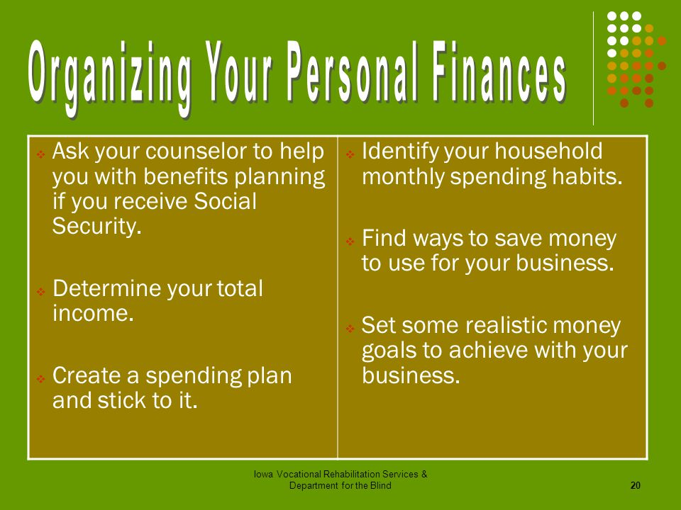 Organizing Your Personal Finances