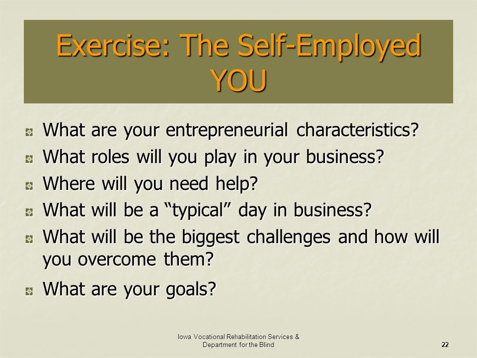 Exercise: The Self-Employed YOU