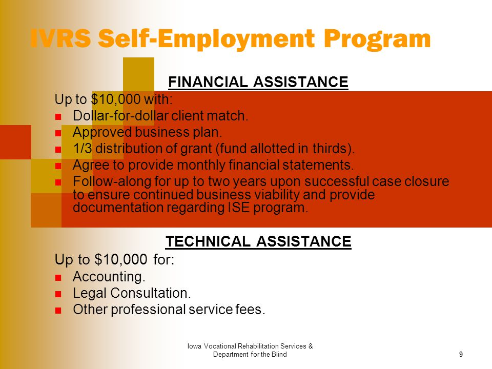 IVRS Self-Employment Program