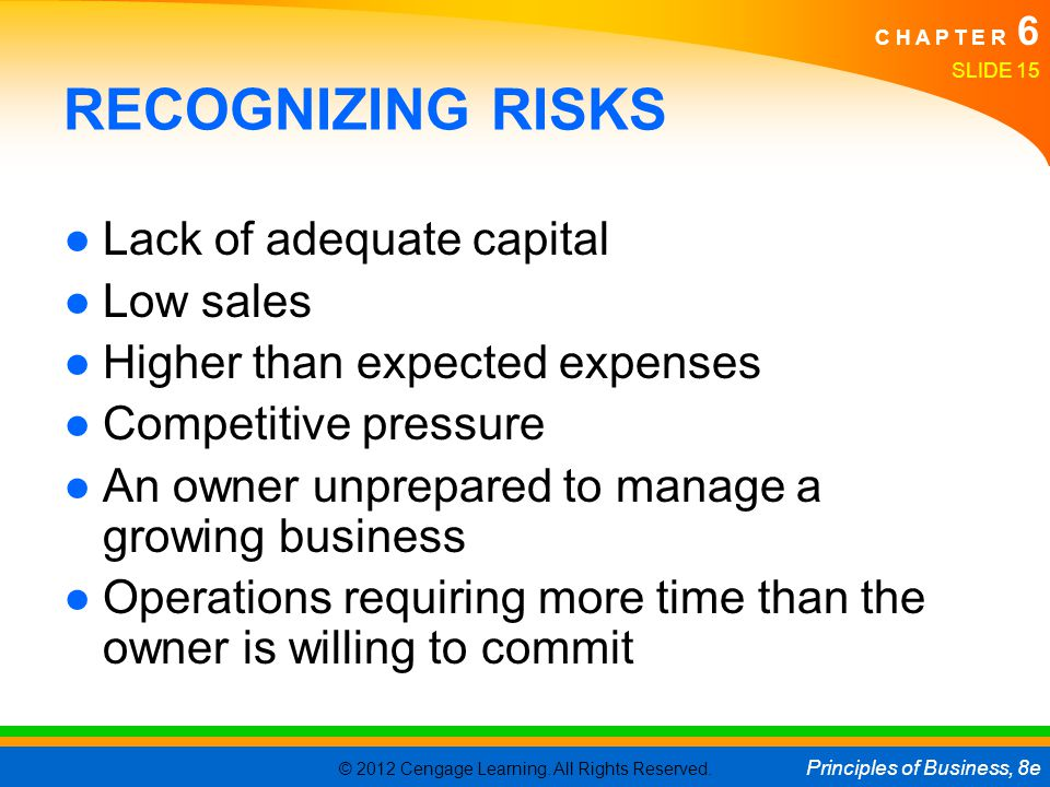 RECOGNIZING RISKS Lack of adequate capital Low sales