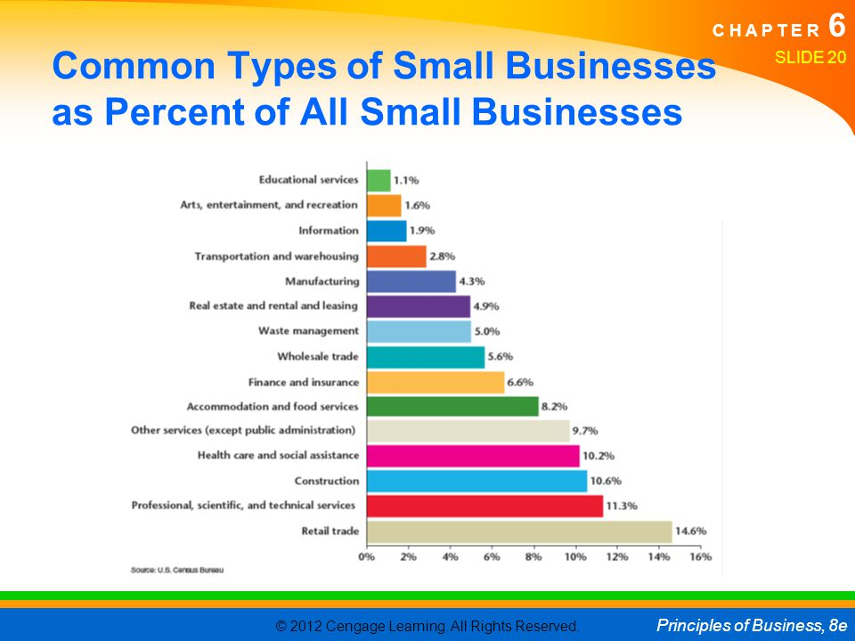 Common Types of Small Businesses as Percent of All Small Businesses