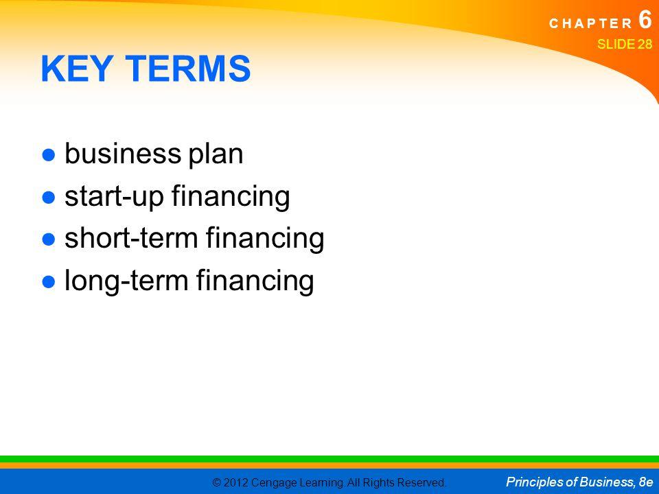 KEY TERMS business plan start-up financing short-term financing