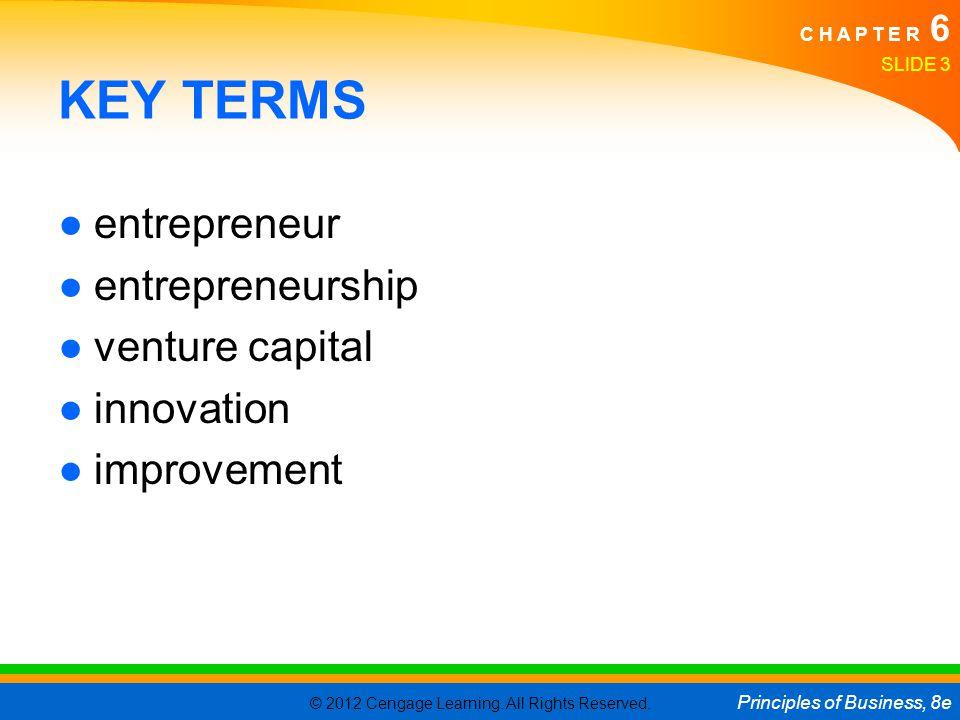 KEY TERMS entrepreneur entrepreneurship venture capital innovation